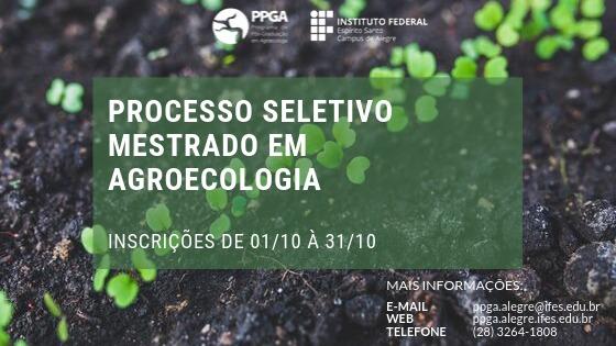 Inscrições Abertas - Mestrado em Agroecologia